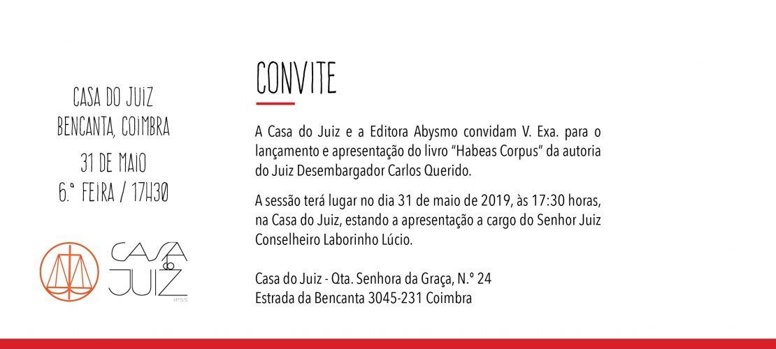 """Lançamento e apresentação do livro """"Habeas Corpus"""", de Carlos Querido – 31/05/2019, 17h30m"""