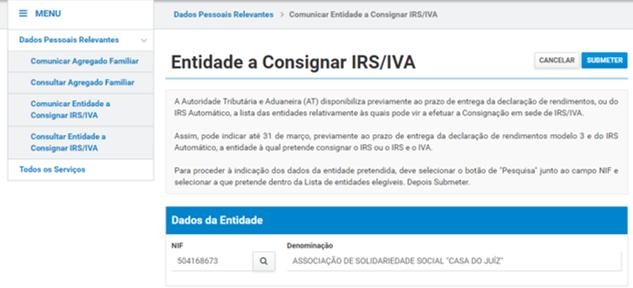 Consignação IRS a favor da CASA DO JUIZ – APELO 2020