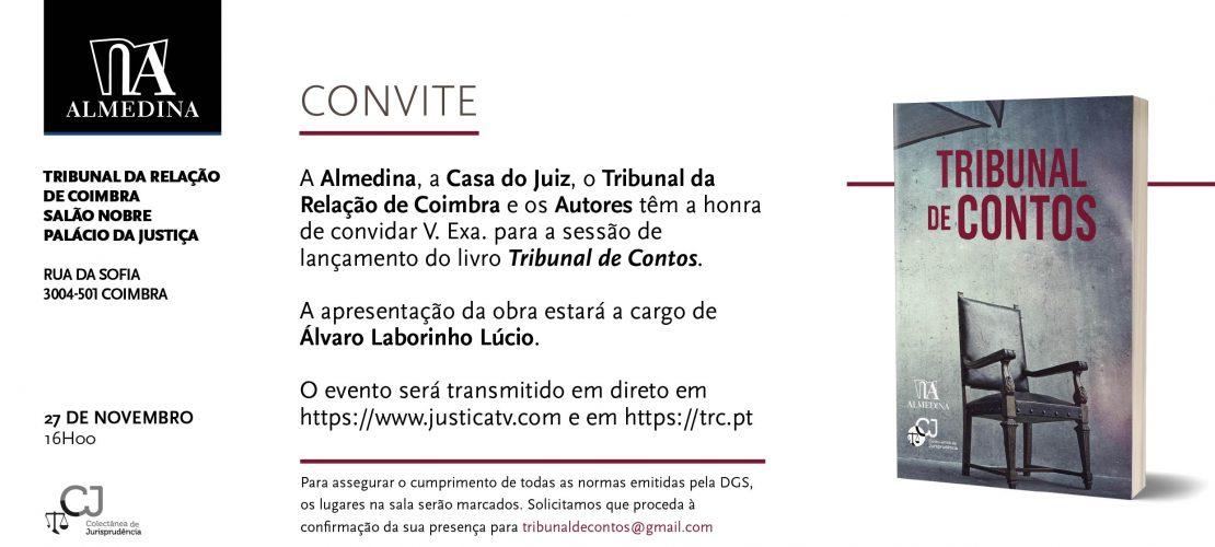 """Sessão de lançamento do livro """"Tribunal de Contos"""" (Coimbra, 27/11/2020) – nova hora (16h)"""