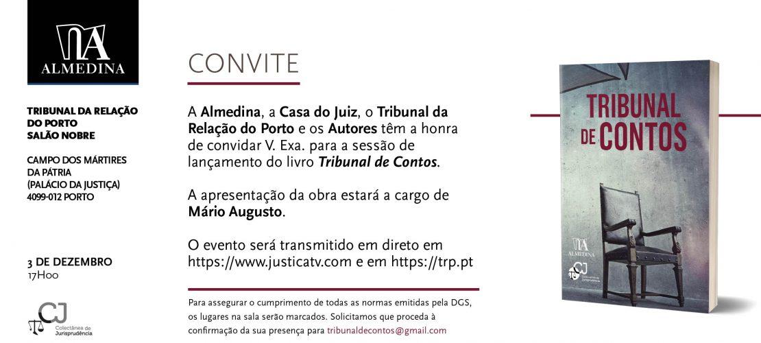"""Sessão de lançamento do livro """"Tribunal de Contos"""" (Porto, nova data – 03/12/2020)"""