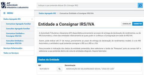 Consignação IRS a favor da CASA DO JUIZ – APELO 2021